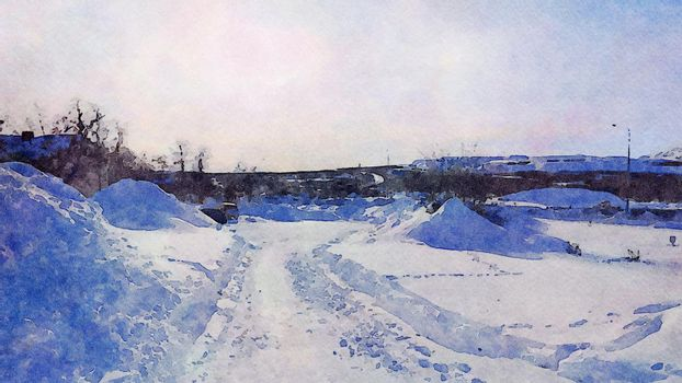 Digital watercolor style of an evening glimpse of a road during winter in northern Scandinavia
