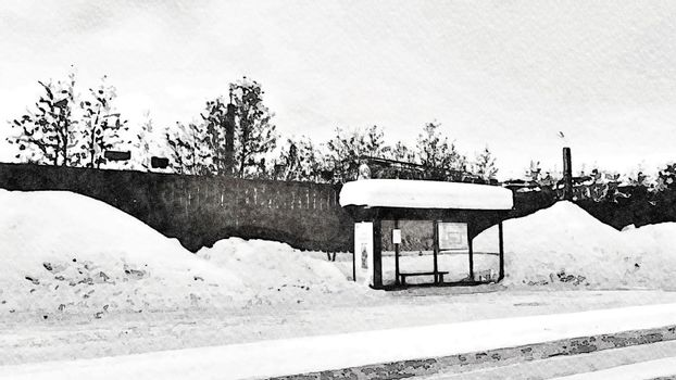 Black and white watercolor style of a bus stop during the winter in northern Scandinavia