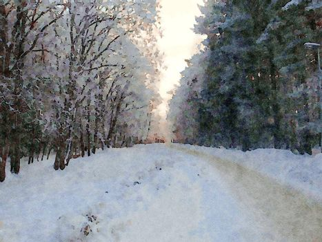 Digital watercolor style of a snowy path in the woods during winter in northern Scandinavia