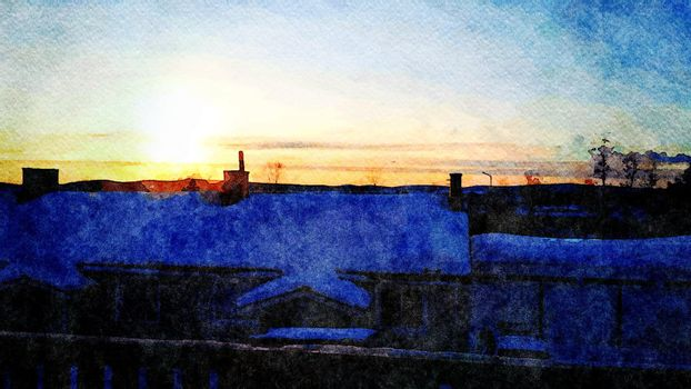 Digital watercolor style of winter sunset seen from the rooftops in northern Scandinavia