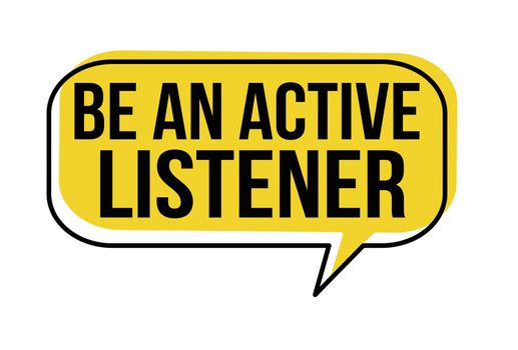 Be an active listener speech bubble