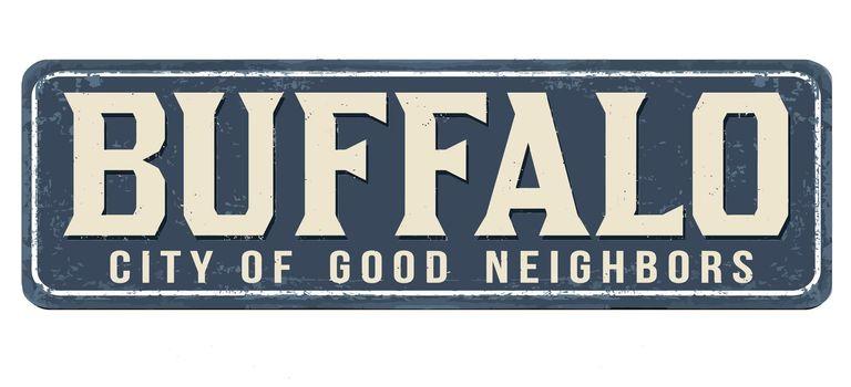 Buffalo vintage rusty metal sign