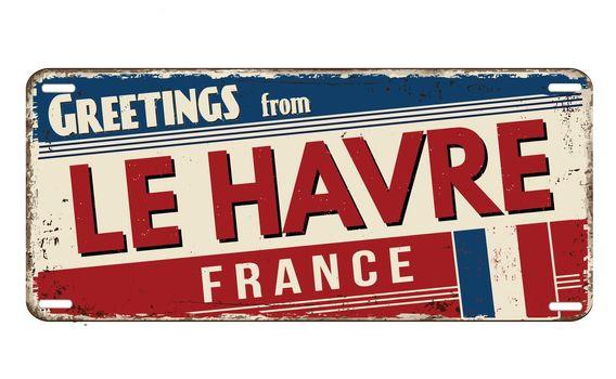 Greetings from Le Havre vintage rusty metal plate