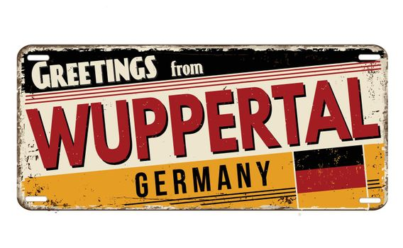 Greetings from Wuppertal vintage rusty metal plate