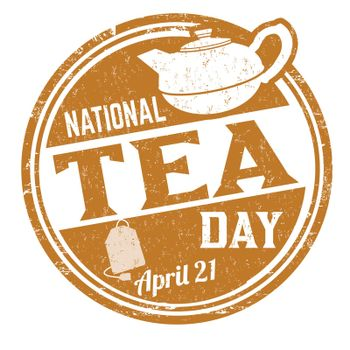 National tea day grunge rubber stamp