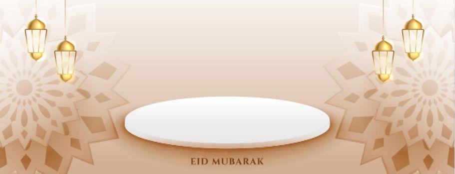 decorative eid mubarak banner with podium