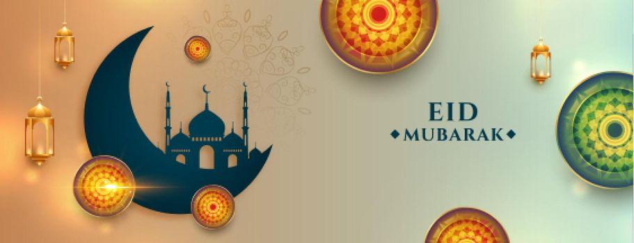realistic eid mubarak wishes banner with arabic decoration