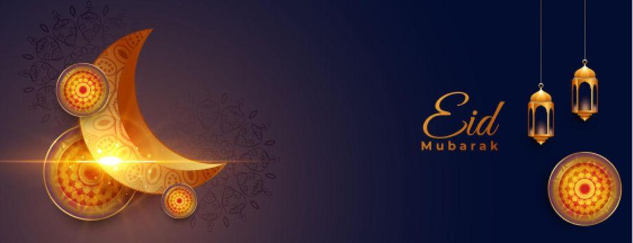 shiny eid mubarak realistic banner design
