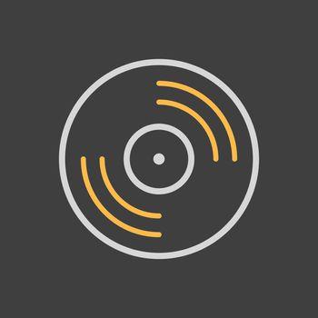 Vinyl record, lp record vector icon on dark background