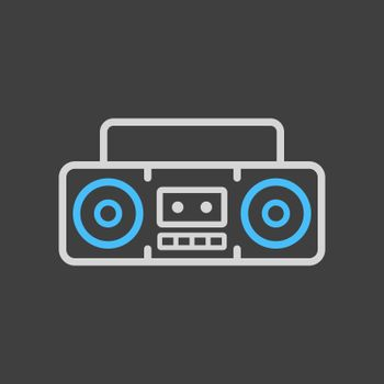 Boombox cassette stereo recorder vector icon on dark background