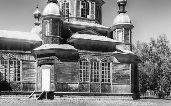 Partially restored and functioning old Orthodox old believer Church in a small village of Russia.