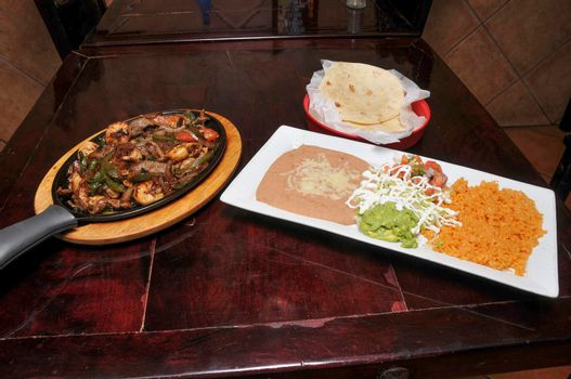Authentic and traditional Mexican cuisine known as steak fajitas