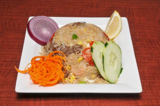 Authentic Asian food known as fried rice