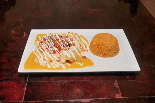 Authentic traditional Mexican cuisine dish known as enchiladas