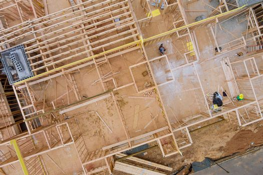 Panorama view beam framing unfinished of a apartment residential construction development wall