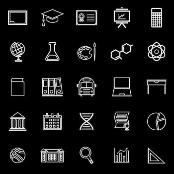 Education line icons on black background
