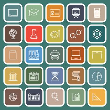 Education line flat icons on green background