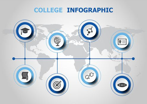 Infographic design with college icons