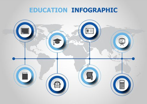Infographic design with education icons