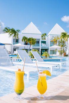 Luxury resort with swimming pool near Palm Beach Aruba Caribbean