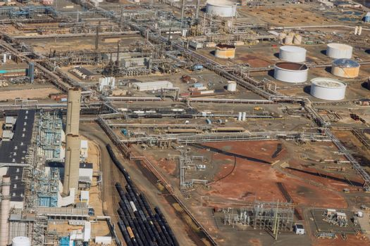 Aerial view oil refinery plant factory on business logistics oil processing equipment machinery
