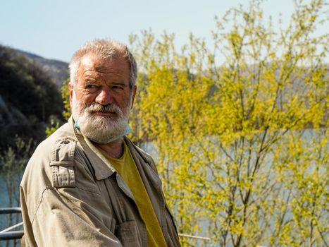 senior adult man portriat outdoors