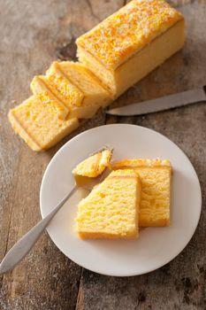 Fresh vanilla sponge cake with flavored icing
