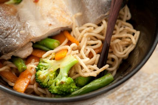 Healthy Asian fish and vegetable noodles