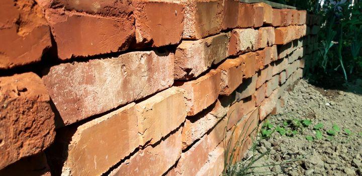 Stacked Red Bricks Close Up