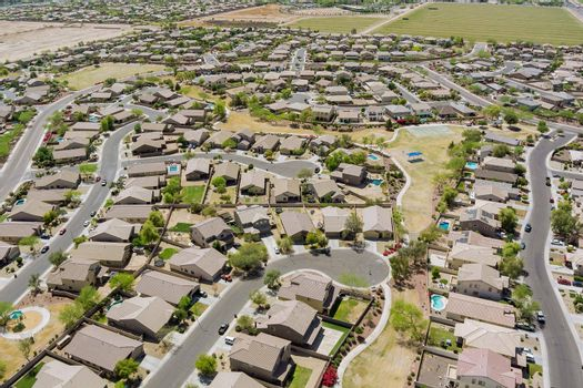 Aerial panorama view of small town residential area of a neighborhood with Avondale the Arizona USA