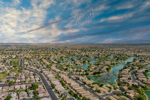 Landscape scenic aerial panorama view of a suburban settlement in USA with detached houses with Avondale of small town the Arizona