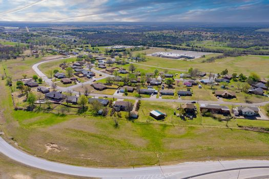 Panorama aerial view of small town near road highway villages located in central America