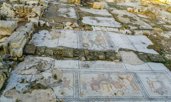Roman era mosaic floor of a public house, in Tzipori