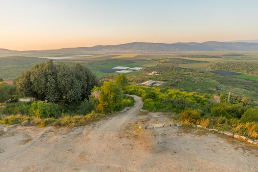 Sunset view of countryside of the western Lower Galilee