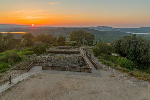 Sunset view of ancient ruins in Tzipori, and landscape