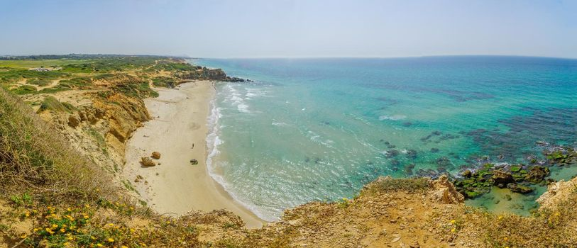 Panoramic view of the Gedor Beach Sea Reserve, Hadera
