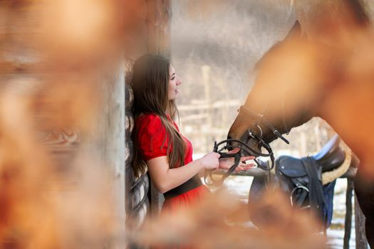 A beautiful girl in a red dress stands with a horse near a wooden wall, the horse's muzzle is hidden by blurred foliage
