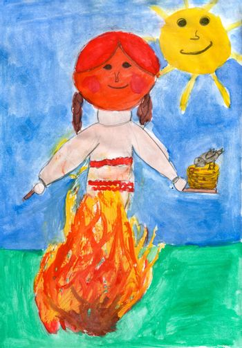 Children's drawing - burning a stuffed carnival at the celebration, in the hands of a stuffed plate with pancakes, in the background the sun
