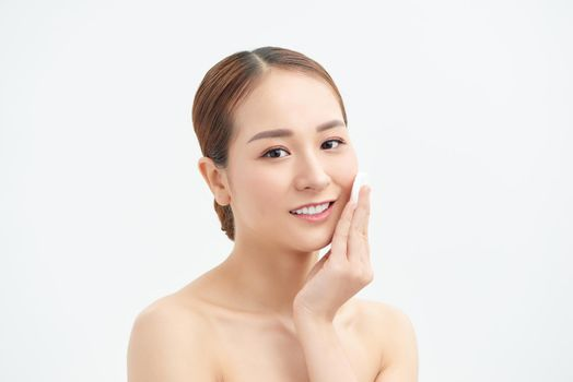 Cotton pad woman remove makeup clean skin