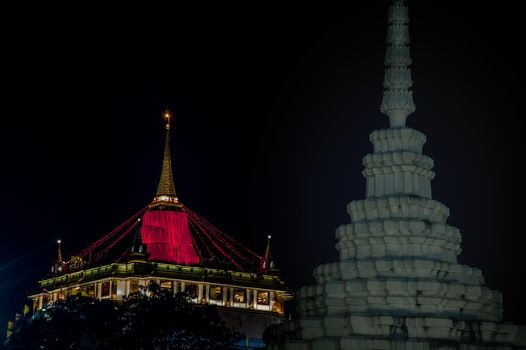 Nighttime of Beautiful wat saket ratchaworamahawiharn (the golden mount), Here It is the most tourist destination landmark in Phra Nakhon district.