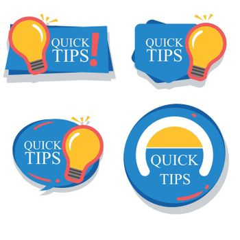 Set of colorful helpful tips badge collection illustration