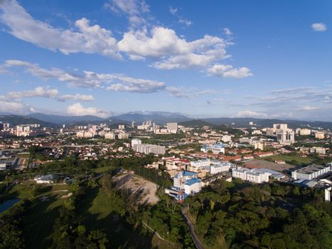 aerial view of Kuala Lumpur suburb city downtown