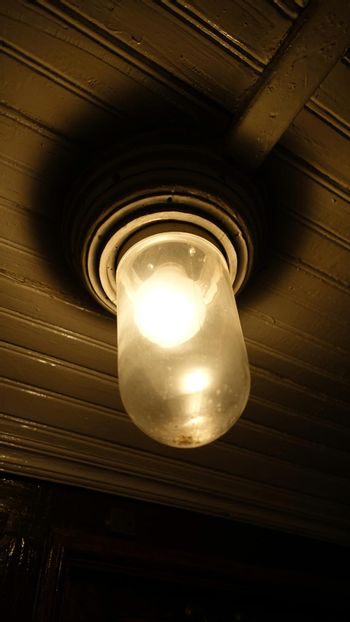Old ceiling lamp turned on