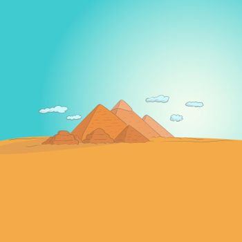 Giza Necropolis hand drawn vector illustration isolated on blue sky background