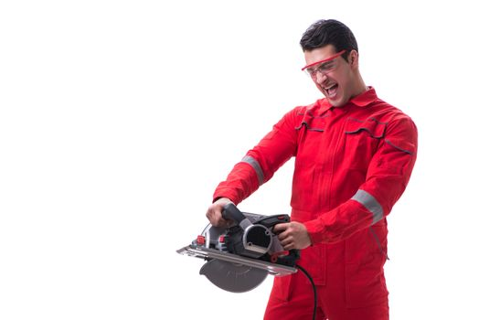 Male carpenter with circular saw in woodworking concept isolated