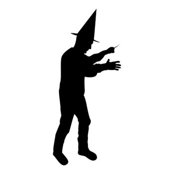 Silhouette wizard holds magic wand trick waving sorcery concept magician sorcerer fantasy person warlock man in robe with magical stick witchcraft in hat mantle mage conjure mystery idea enchantment black color vector illustration flat style image
