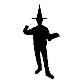 Silhouette wizard holds magic wand trick book waving sorcery concept magician sorcerer fantasy person warlock man in robe with magical stick witchcraft in hat mantle mage conjure mystery idea enchantment black color vector illustration flat style image