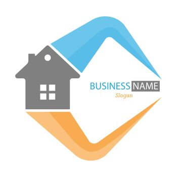Editable template for logo, brand, emblem or sticker. Brand of construction company, business of hiring, buying and selling home. Flat style