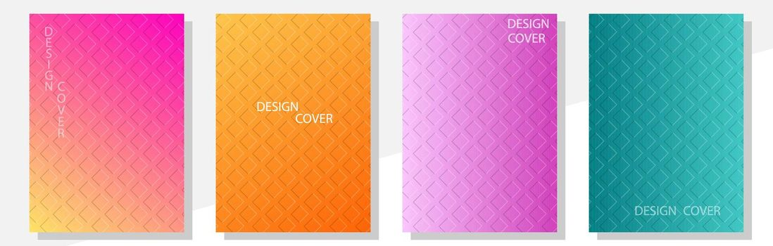 Geometric cover design templates A-4 format. Editable set of layouts for covers of books, magazines, notebooks, albums, booklets. Flat design, modern colors.