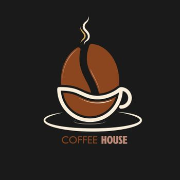 logo, coffee shop, coffee house, and creative business design. A cup of coffee and a coffee bean. Flat style.